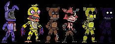 The Withered Fazbear gang by Frazamatron