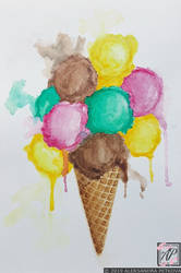 Food Illustration Ice Cream in a Cone Watercolor by aleksandrapetkova