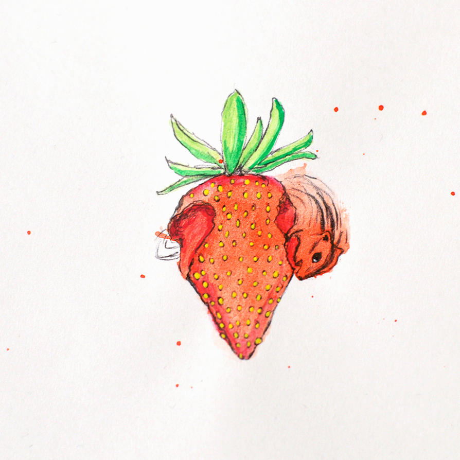 Strawberry Gobbling Chipmunk by TalesandScribbles