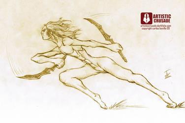 Running elf dual blade by ArtisticCrusade