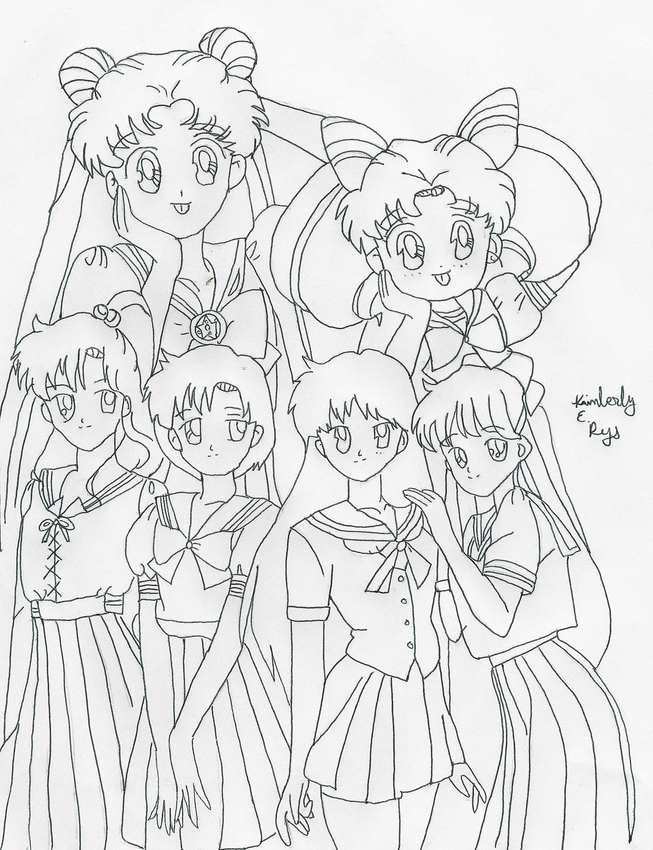 Sailor moon line art by karadarkthorn on deviantart for Sailor moon group coloring pages