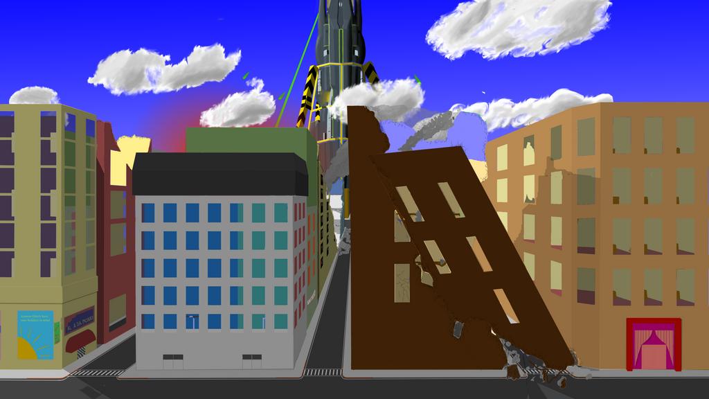 Reaper walking through a city by GuppyFoal