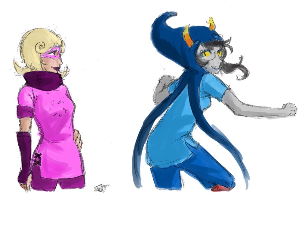 Alternate Color God Tier: Roxy and Vriska by Sarochan