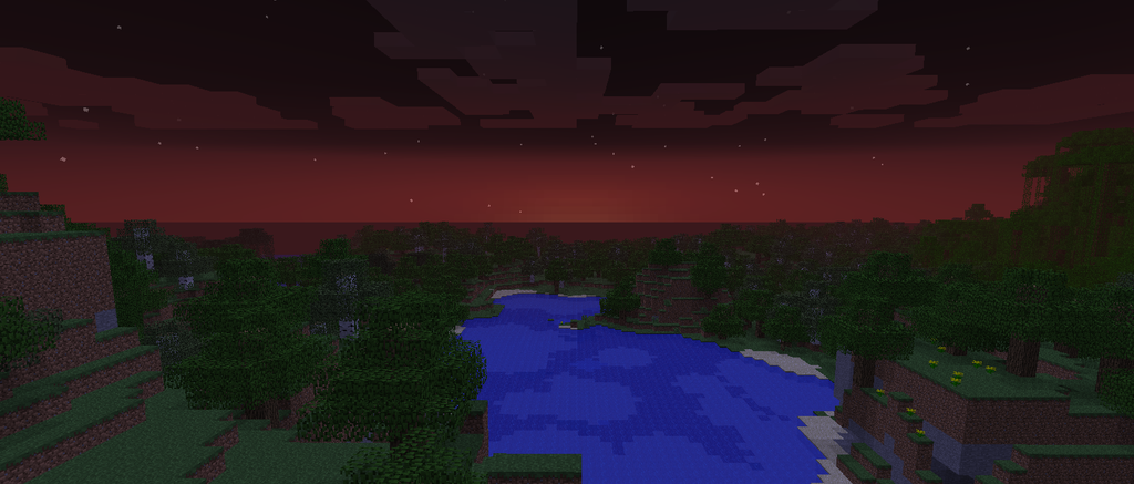 Sunset over forest in Minecraft by tigerhawkfurrylover