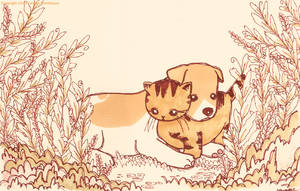 Beagle and Kitty companions by yuzukko