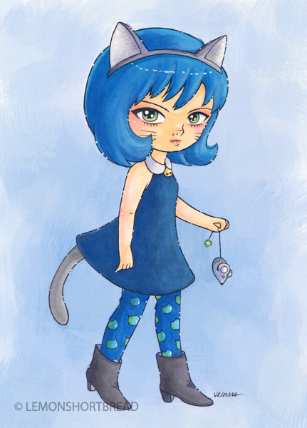 Cat girl and mouse by yuzukko