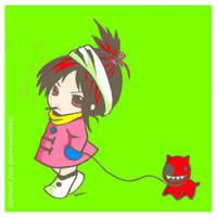 Chibi with pet by yuzukko