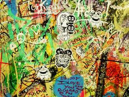 Stickers on Grafitti Wall by yuzukko