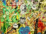 Stickers on Grafitti Wall