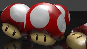 GLASS MUSHROOMS! Super Mario Powerup 3D Render by HomelessGoomba