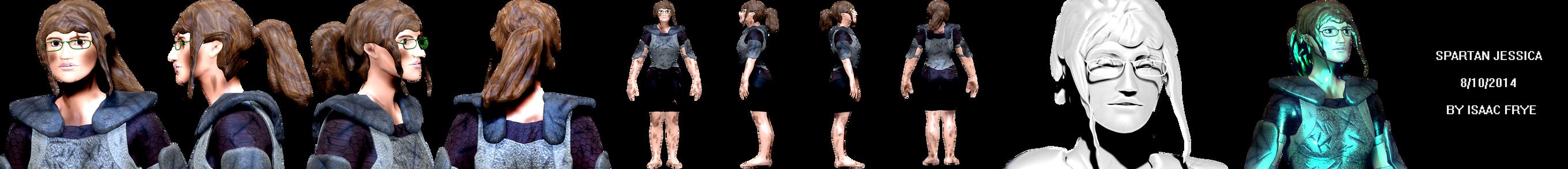 Jessica Spartan - Female Warrior 3D Model Render by HomelessGoomba