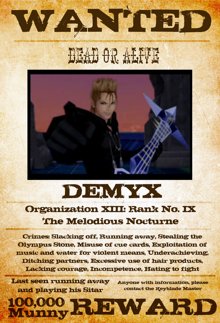 Wanted: Demyx by gttorres
