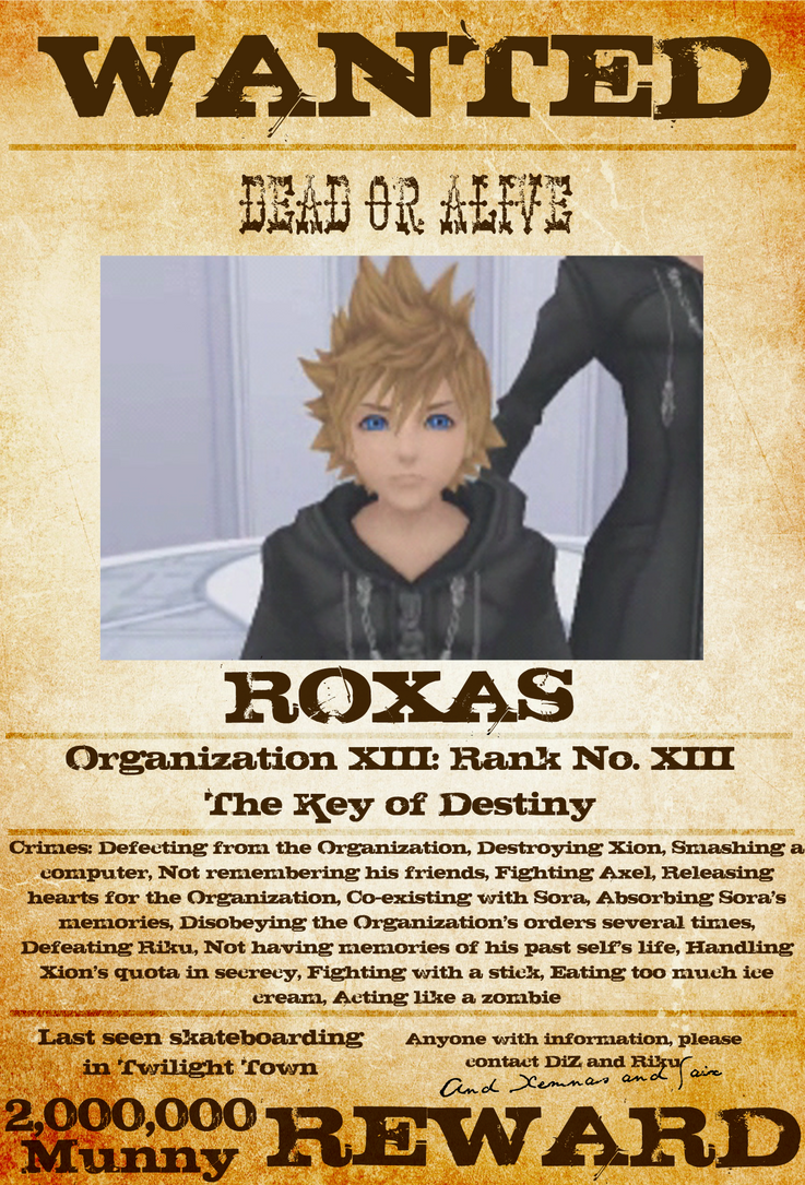 Wanted: Roxas by gttorres