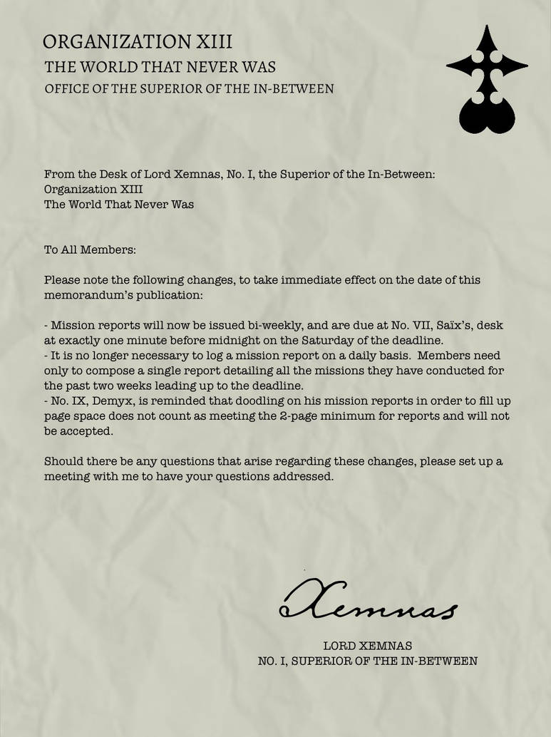 Organization XIII Memos - Mission Reports by gttorres on