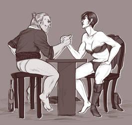Strip armwrestling by OkuniReika