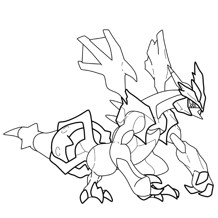 zekrom ex coloring pages | Black Kyurem - Lines by blastertwo on DeviantArt
