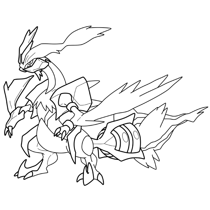 White kyurem pokemon free coloring pages for Pokemon coloring pages black and white
