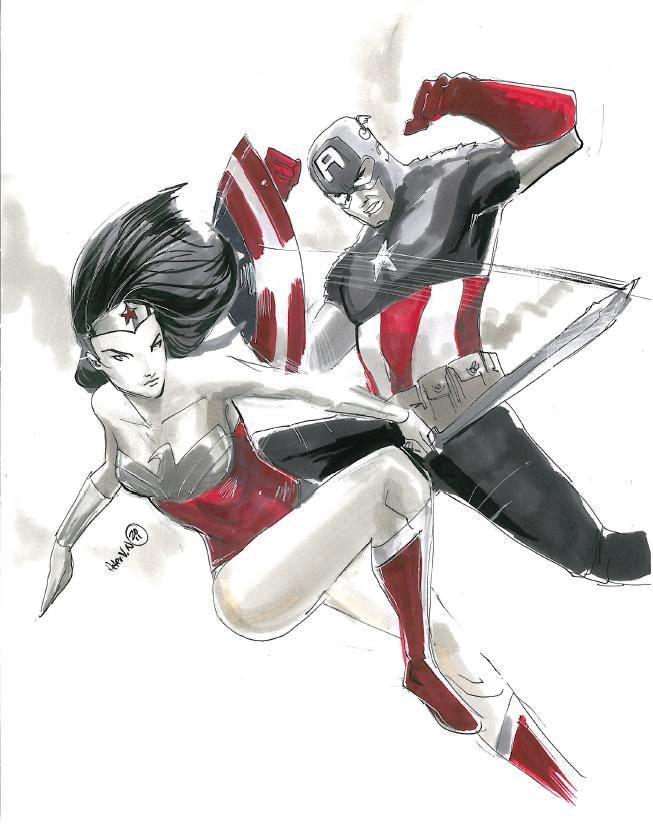 Capt America vs. Wonder Woman by OhhhSweetGeesus