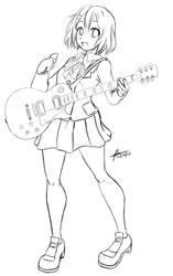 Yui Line Art Sketch by knighthead
