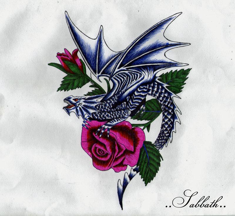 dragon with roses by 11sabbath11 on deviantart. Black Bedroom Furniture Sets. Home Design Ideas