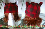 Red Plaid Kitty Fleece Hat