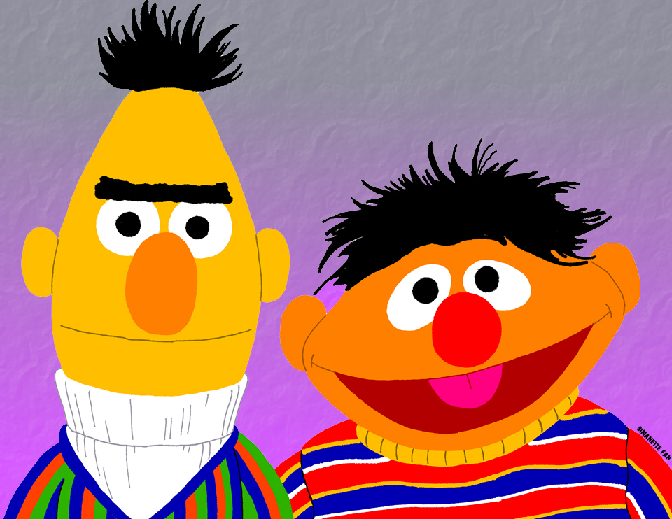Ernie and Bert Portrait by SimanetteFan