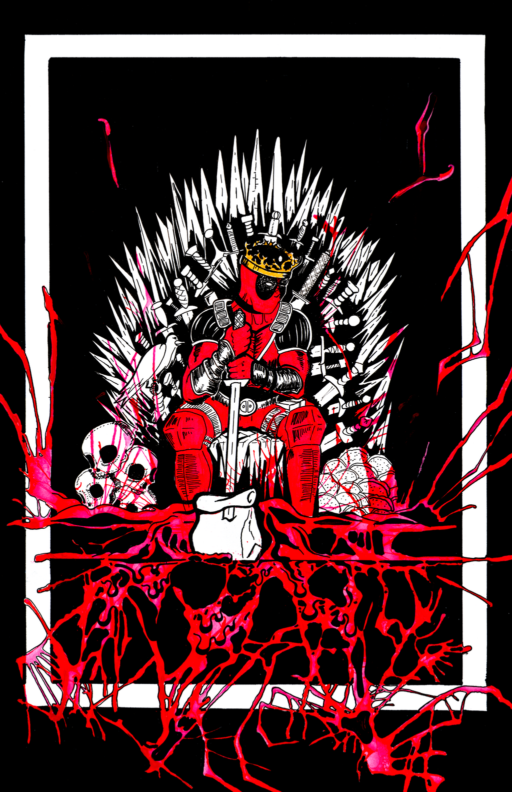 King deadpool on the iron throne by vitmncisill on deviantart for Iron throne painting