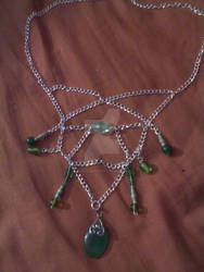 Silver And Green Chain Necklace