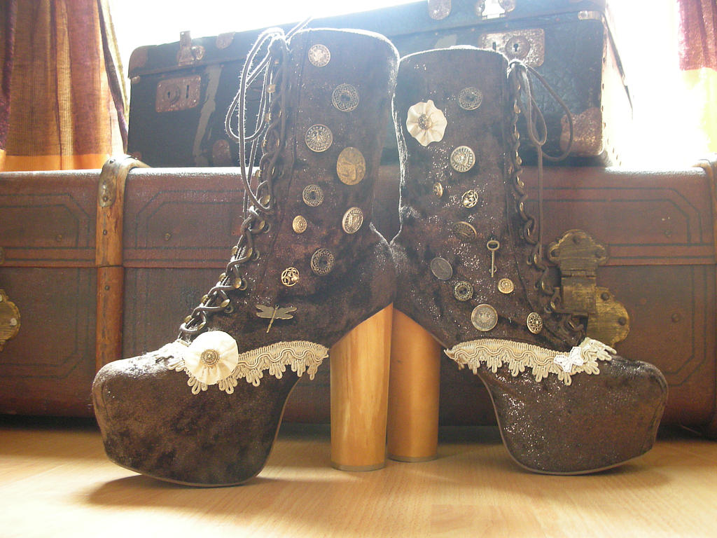 upcycled jeffrey campbell lita boots steampunk by s t a r gazer on deviantart. Black Bedroom Furniture Sets. Home Design Ideas