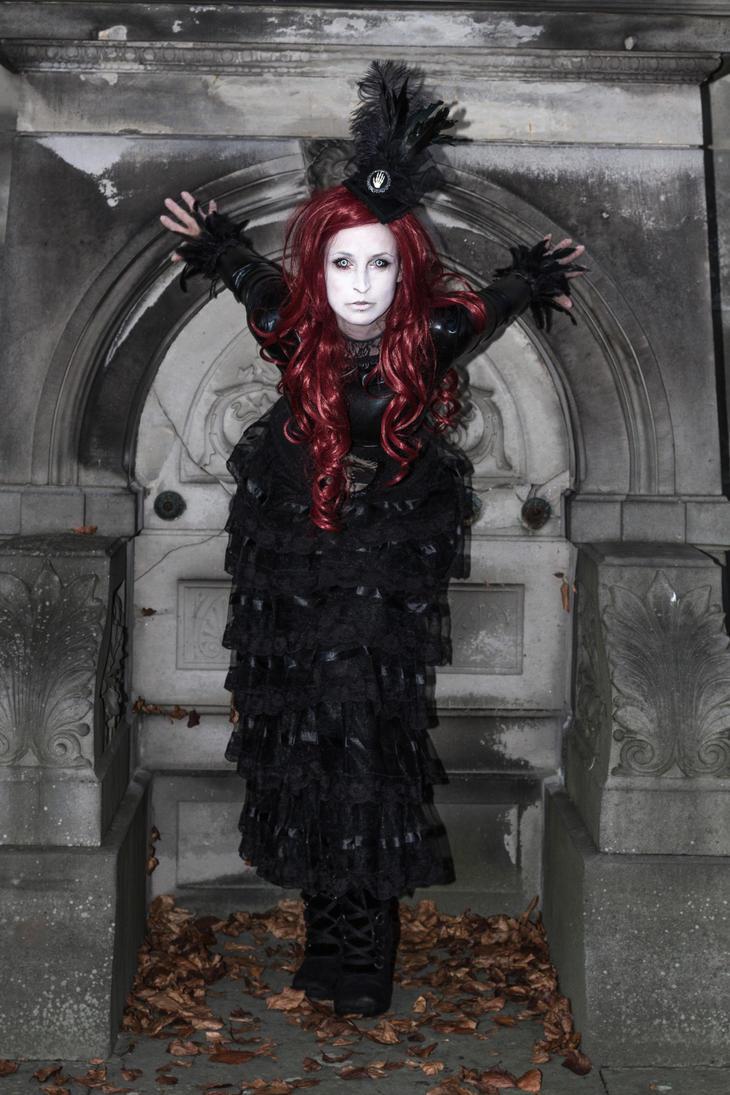Stock -  Vampire lady red hair crypta by S-T-A-R-gazer