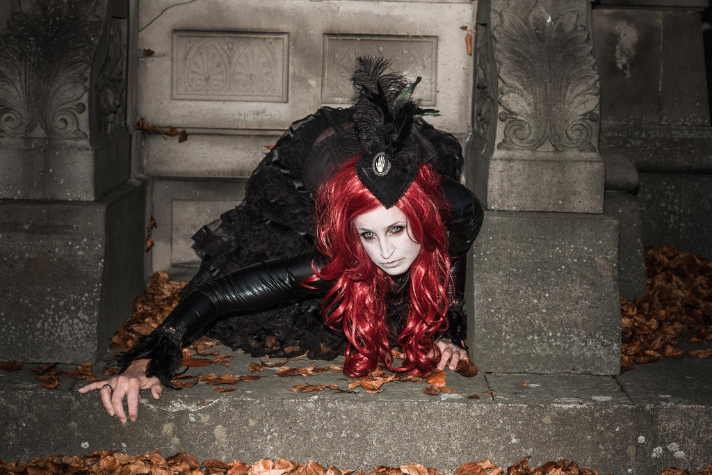 Stock -  Vampire lady red hair crypta 2 by S-T-A-R-gazer