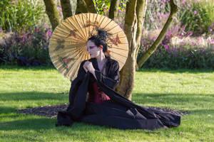 Stock - Dark Geisha ..  tree .. gothic  sidewiew by S-T-A-R-gazer