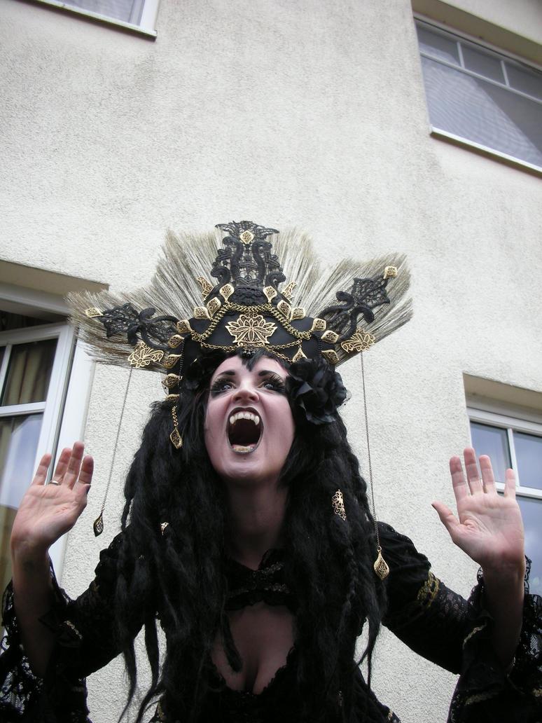 Stock - Vampire queen golden headdress hands up by S-T-A-R-gazer