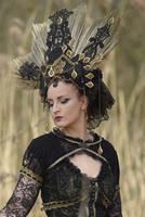 Stock - Gothic Headdress gold  and black  Portrait by S-T-A-R-gazer