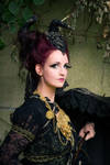 Stock - Gothic lady horns faun portrait umbrella