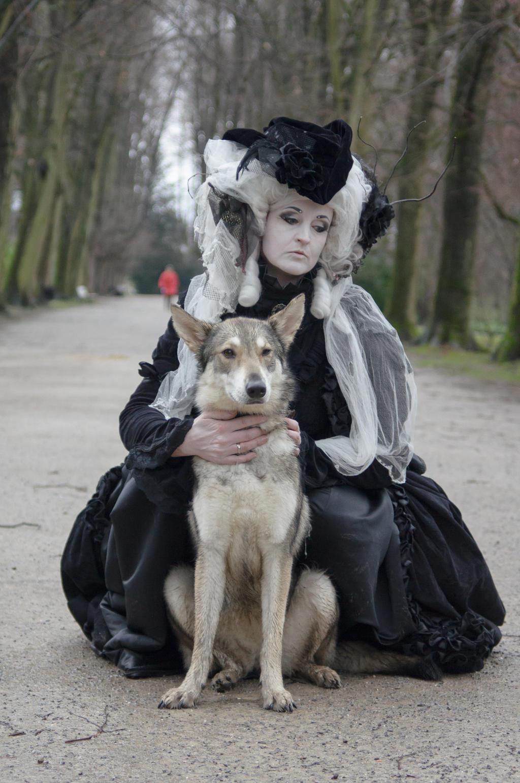 Stock - Baroque Lady sitting dog  gothic romantic