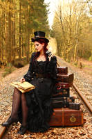 Stock - Steampunk railroad trip look at card by S-T-A-R-gazer