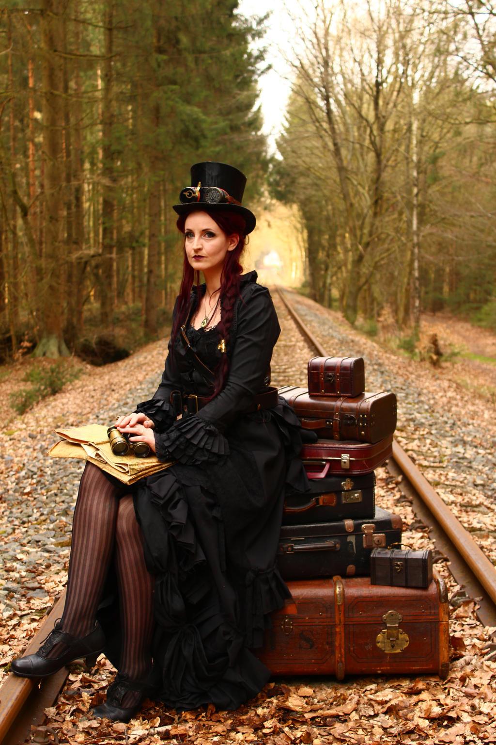 Stock - Steampunk railroad trip waiting pose 2