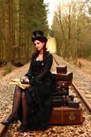 Stock - Steampunk railroad trip  little smile by S-T-A-R-gazer