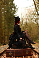 Stock - Steampunk suitcases sit look away by S-T-A-R-gazer