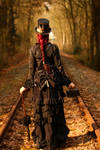 Stock - Steampunk railway backview dress red hair