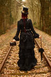 Stock - Steampunk on railway backview 2 by S-T-A-R-gazer