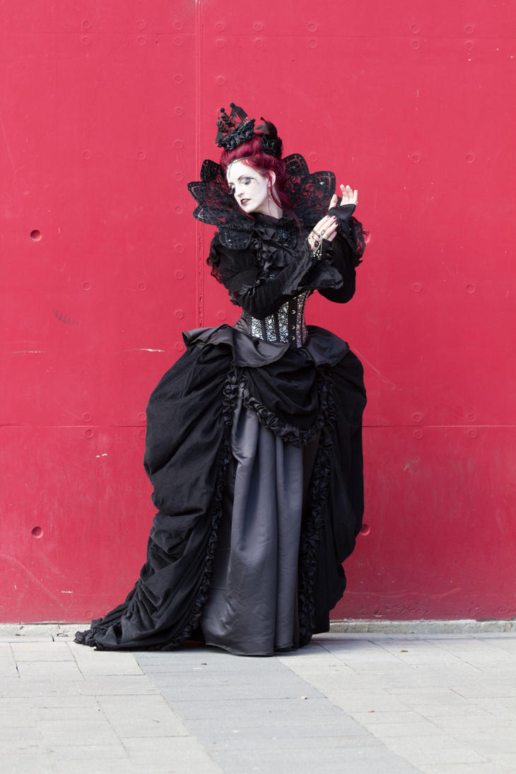 Stock - Gothic woman vampire red wall pose 3 by S-T-A-R-gazer
