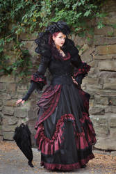 Stock - Baroque Lady with umbrella pose gothic 1 by S-T-A-R-gazer