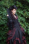 Stock - Baroque Lady  pose gothic red black side