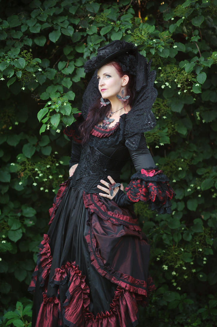 Stock - Baroque Lady  pose gothic red black side 2 by S-T-A-R-gazer