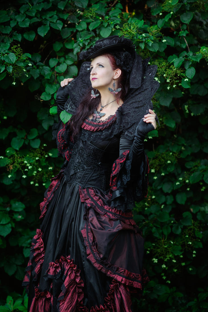 Stock - Baroque Lady  pose gothic black look up by S-T-A-R-gazer