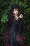 Stock - Baroque Lady  pose gothic black frontview