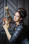 Stock - Baroque Lady pose with lantern 2
