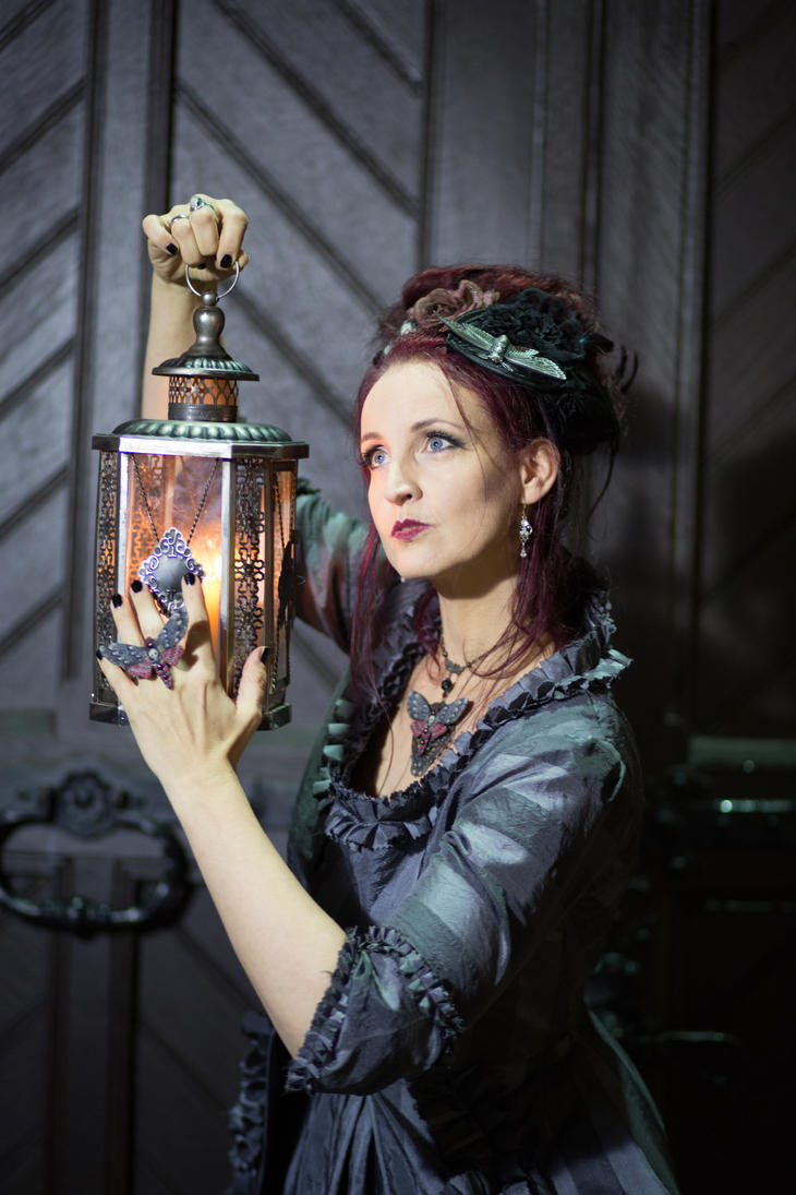 Stock - Baroque Lady  pose with lantern 3 moths by S-T-A-R-gazer